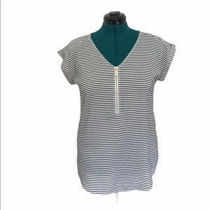 Express Black + White Striped Shirt With Zipper